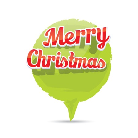 grunge shape: Green Christmas Greeting abstract grunge shape banner Illustration