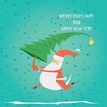 Vector comic cartoon merry christmas greeting card Vector