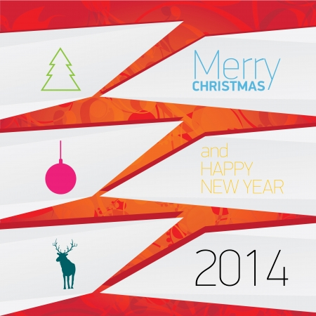 merry christmas background with white origami banner Vector