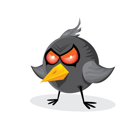 game bird: vector bad angry black raven bird. Illustration