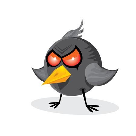aves caricatura: vector malo enojado cuervo negro pájaro.