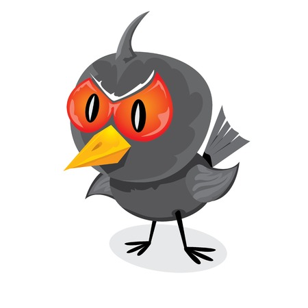 vector bad angry black raven bird. Vector