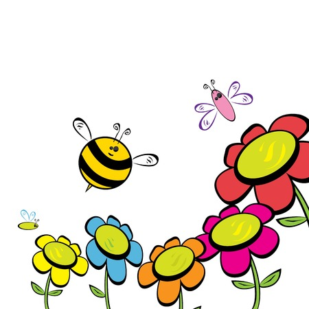 wasps: vector bee icon. cartoon cute bright baby bee. Illustration