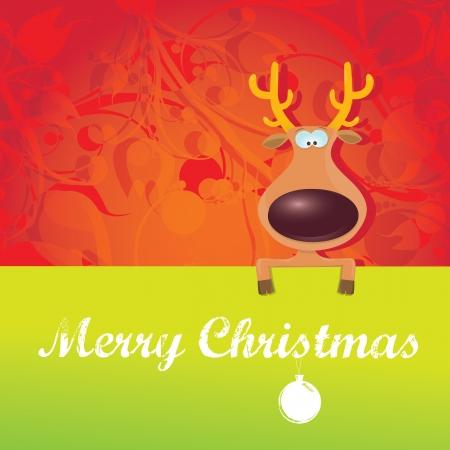 子供のトナカイとメリー クリスマス イラスト  イラスト・ベクター素材