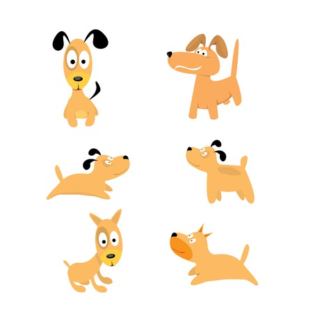 Cute dogs set. vector collection of puppies Vector