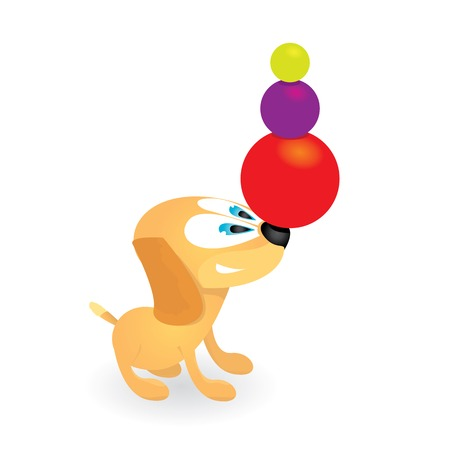vector Cute dog playing with red ball Vector