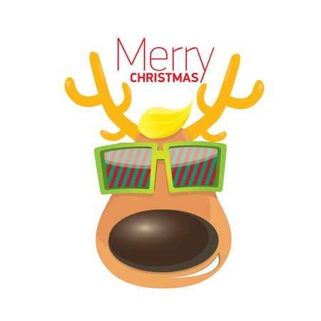 christmas greeting card design. hipster reindeer with sunglasses Vector