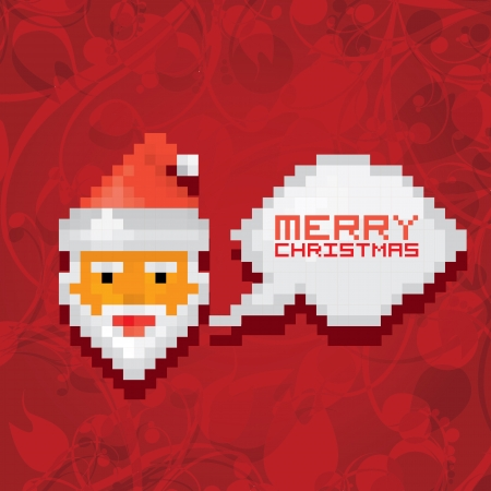 Pixel santa claus with beard and mustache Vector