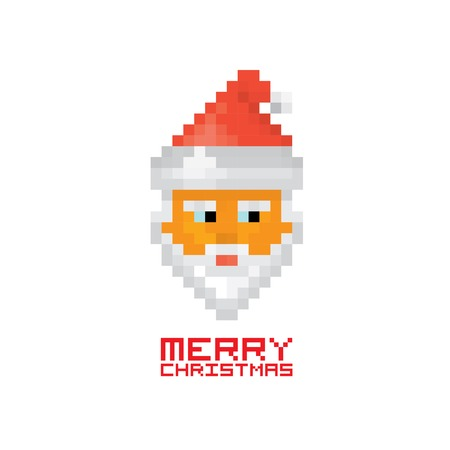 eight year old: Pixel santa claus with beard and mustache