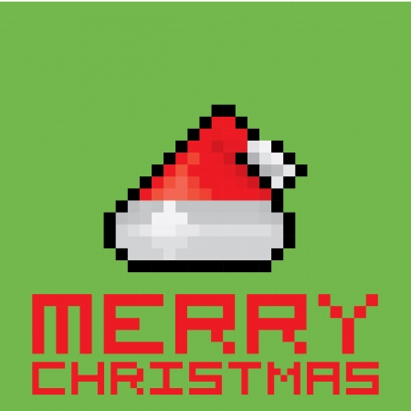 eight year old: Pixel santa claus red hat