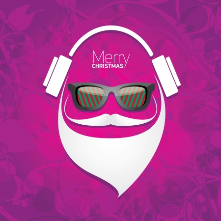 Vector Hipster santa poster for party or greeting card. Stock Vector - 24697506