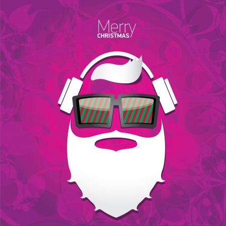 Vector Hipster santa poster for party or greeting card. Stock Vector - 24697508
