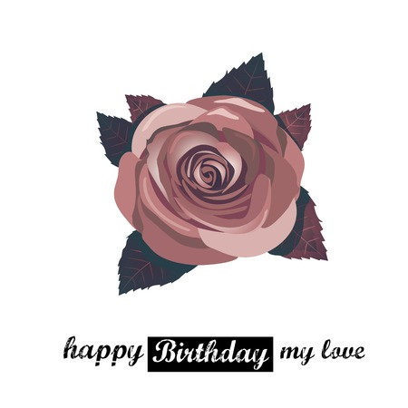 vector happy birthday card with red rose spring flowers. Vector