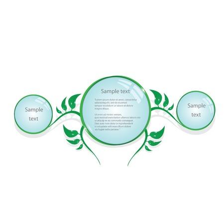 floral eco green button. bio green vector concept of life. Stock Vector - 24929795