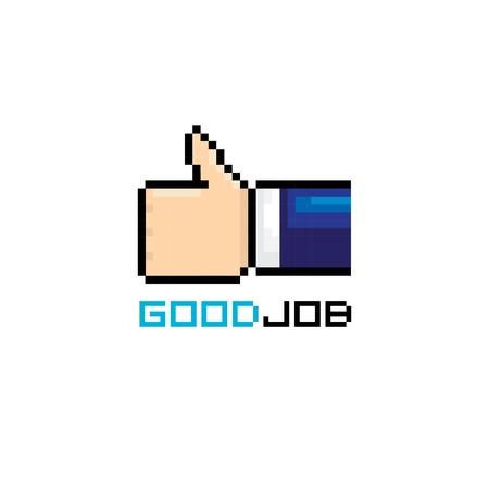 good job icon pixel art style.  Vector