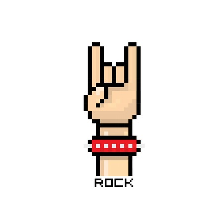 pixel art hand sign rock n roll music button Stock Vector - 24990731