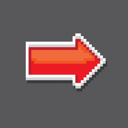 red pixel style arrow sign or button for web design Vector