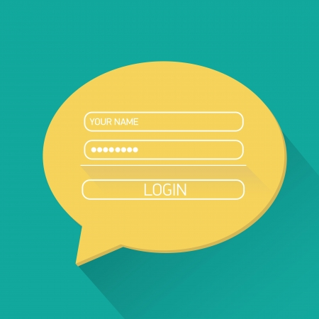 vector Login website template flat design. Vector