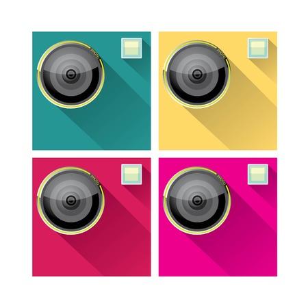 Retro Camera flat icon for web design and mobile app Vector