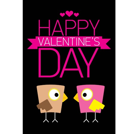valentine day love beautiful card with cute love couple birds Vector