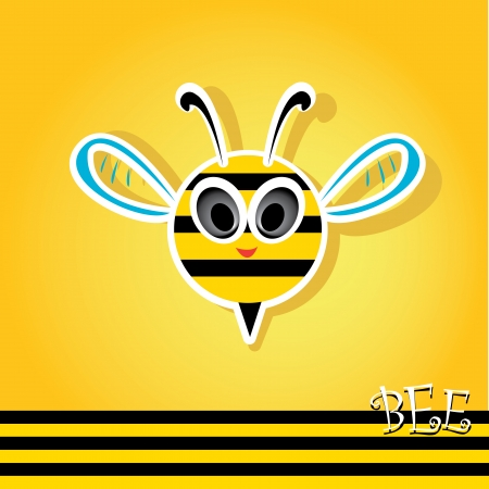 black family: vector bee icon. cartoon cute bright baby bee. Illustration