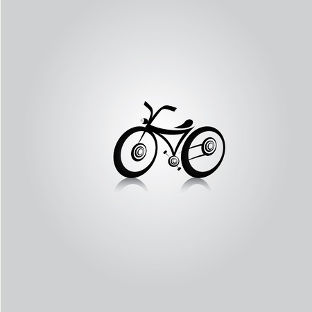Mountain bicycles on the road. vector Bike silhouette Vector