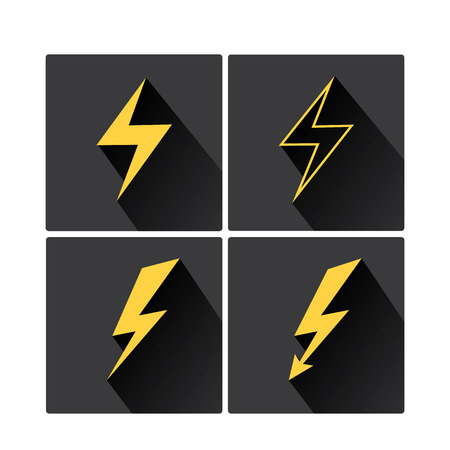 flat style design lightning bolt icon collection