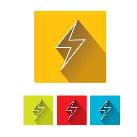 flat style design lightning bolt icon collection Vector