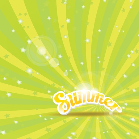 vector green rays background with word summer. Vector