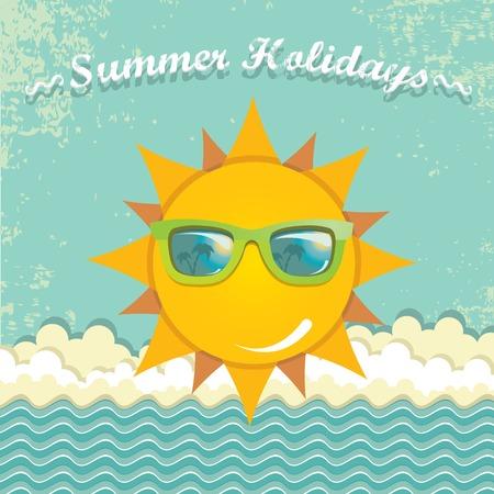 vector summer illustration. summer holiday kids background. Vector