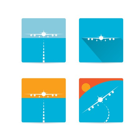 vector flat airplane icon symbol  or sign collection Illustration