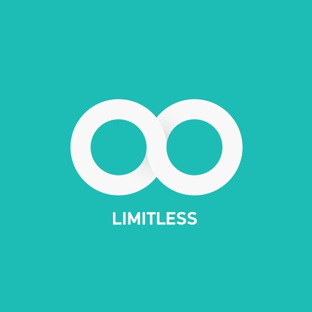 vector flat Limitless sign icon on turquoise background Vectores