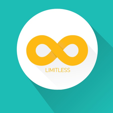 limitless: vector flat Limitless sign icon on turquoise background Illustration