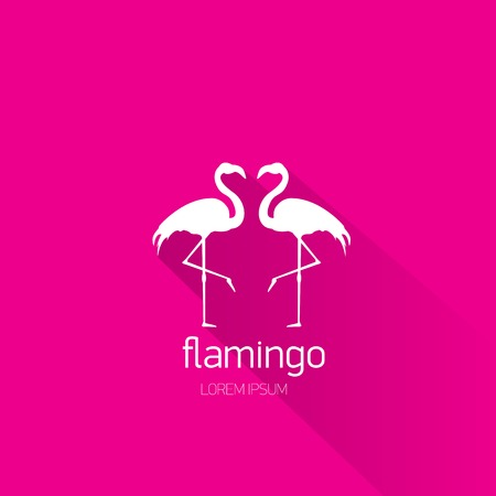 vector silhouette of flamingo with long shadow on stylish pink background Vector