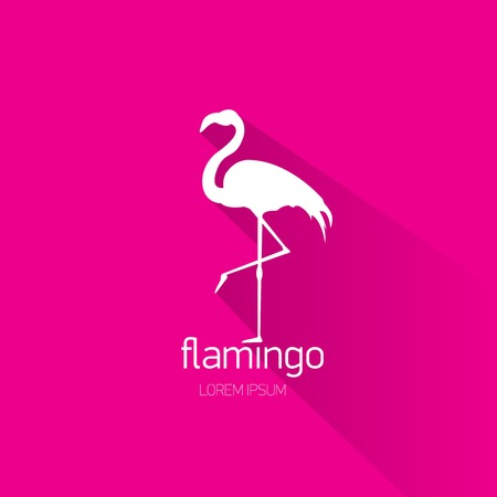 vector silhouette of flamingo with long shadow on stylish pink background