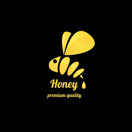 domesticated: vector golden honey abstract bee silhouette on black Illustration