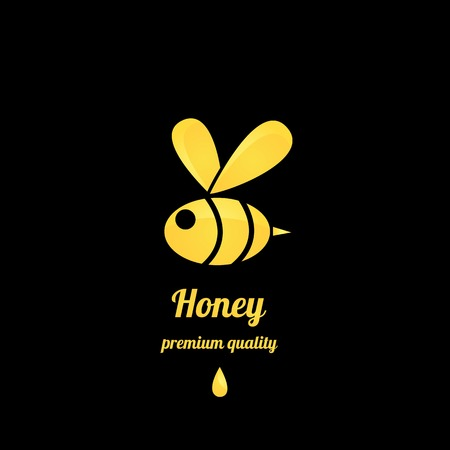 vector golden honey abstract bee silhouette on black Stock Illustratie