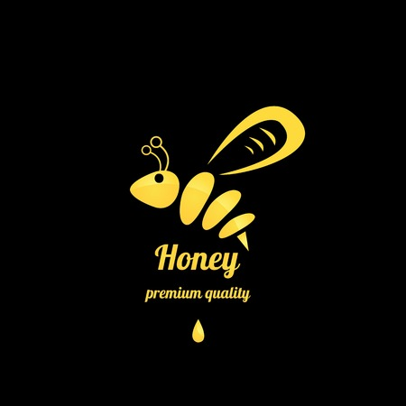 vector golden honey abstract bee silhouette on black Illustration