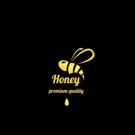 vector golden honey abstract bee silhouette on black Illustration