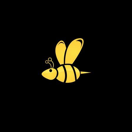 vector golden honey abstract bee silhouette on black Иллюстрация