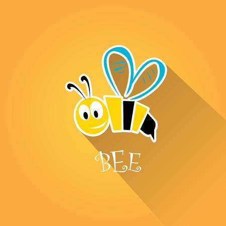 vector bee flat icon. cartoon cute bee Иллюстрация