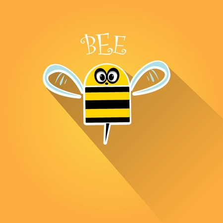 vector bee flat icon. cartoon cute bee Vector