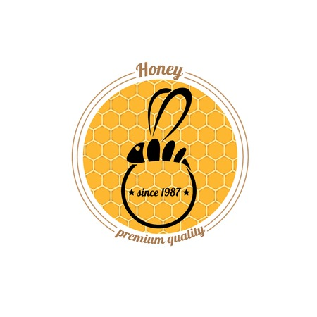 vector abstract honey  bee silhouette on orange honey comb Vector