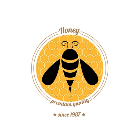 vector abstract honey  bee silhouette on orange honey comb Vector