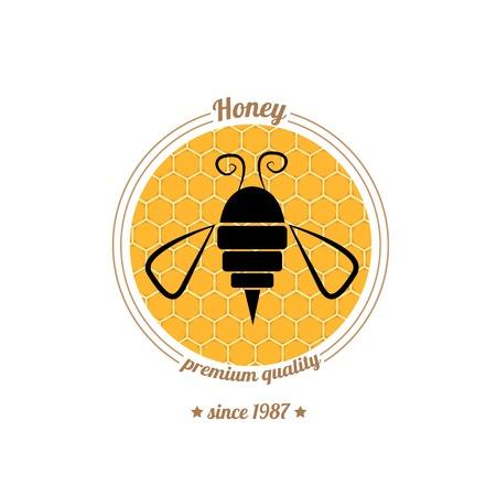 vector abstract honey  bee silhouette on orange honey comb
