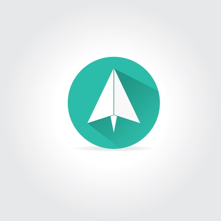 paper origami airplane symbol with long shadow Vector