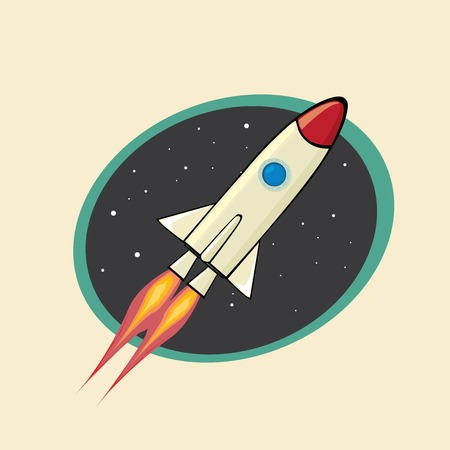 retro poster of Space rocket in space. vector illustration Illustration