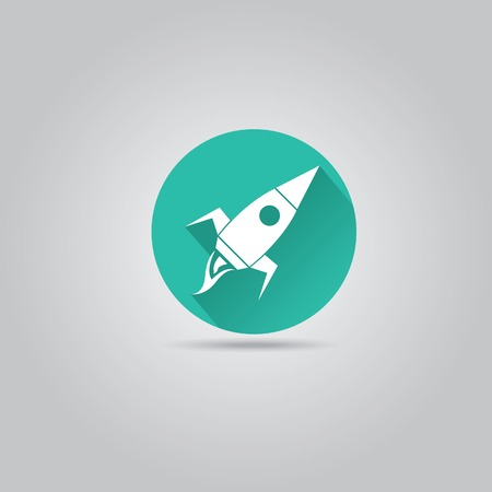 Rocket flat icon with long shadow on stylish turquoise background. vector illustration Vector