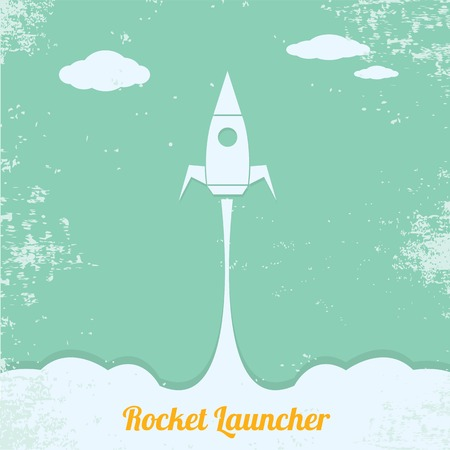 vintage style retro poster of Rocket launcher. vector illustration Vector