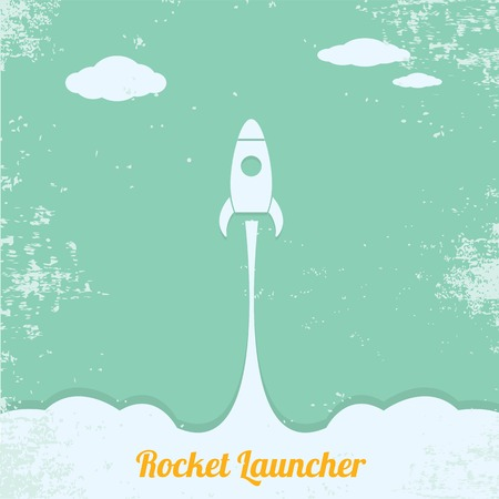 launcher: vintage style retro poster of Rocket launcher. vector illustration